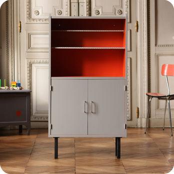 meubles vintage rangements etag re biblioth que grise et orange fabuleuse factory. Black Bedroom Furniture Sets. Home Design Ideas