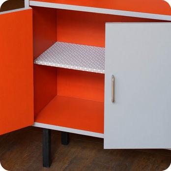 meubles vintage rangements etag re biblioth que grise. Black Bedroom Furniture Sets. Home Design Ideas