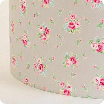 Abat jour imprim en tissu pour lampe lampadaire ou suspension motif fleur gris lady grey - Tissu pour abat jour ...