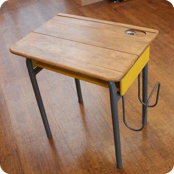 Meubles vintage bureaux tables ancien bureau d - Petit bureau ecolier en bois ...
