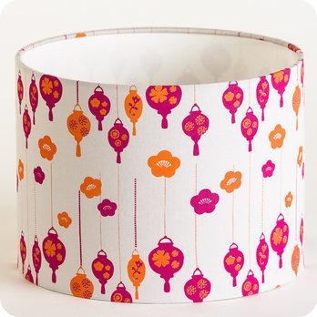 abat jour design pour lampe lampadaire ou suspension en tissu motif rose et orange hano. Black Bedroom Furniture Sets. Home Design Ideas