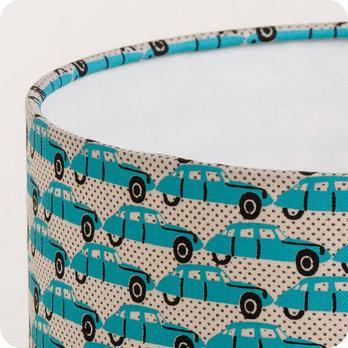 abat jour ou suspension pour chambre enfant en tissu motif voiture vintage bleu trafic. Black Bedroom Furniture Sets. Home Design Ideas