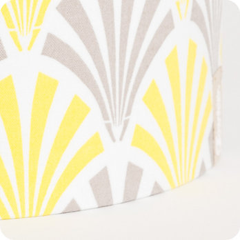 applique murale design en tissu motif vintage jaune gris. Black Bedroom Furniture Sets. Home Design Ideas