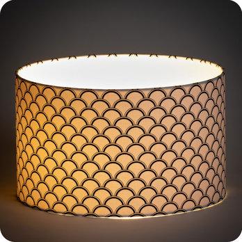 Abat jour design pour lampe lampadaire ou suspension en tissu motif caille noir et blanc haro - Tissu pour abat jour ...