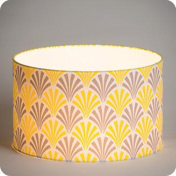abat jour design pour lampe lampadaire ou suspension en tissu motif vintage gris jaune peacock. Black Bedroom Furniture Sets. Home Design Ideas