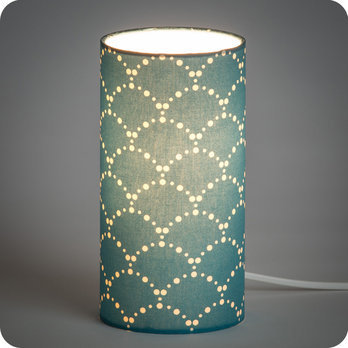 lampe poser design en tissu motif japonais bleu canard asahi bleu. Black Bedroom Furniture Sets. Home Design Ideas