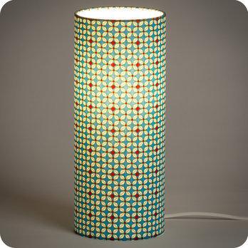lampe tube poser en tissu petit pan motif h lium turquoise. Black Bedroom Furniture Sets. Home Design Ideas