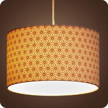 abat jour design pour lampe lampadaire ou suspension en tissu motif japonais hoshi cuivre. Black Bedroom Furniture Sets. Home Design Ideas