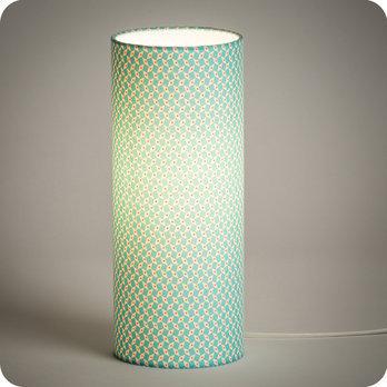 lampe tube poser en tissu petit pan motif bleu turquoise p pin azur. Black Bedroom Furniture Sets. Home Design Ideas