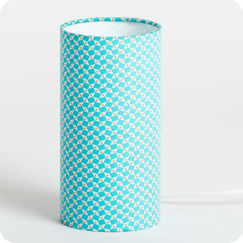 lampe tube poser en tissu petit pan motif bleu turquoise p pin azur. Black Bedroom Furniture Sets. Home Design Ideas