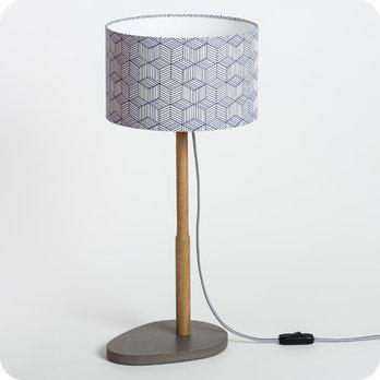 Lampe sur pied design en bois naturel et medium gris b ton for Lampe a poser pied bois