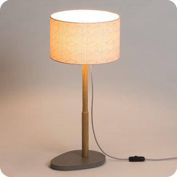 Lampe sur pied design en ch ne naturel et medium for Lampe sur pied avec tablette