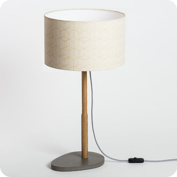 lampe sur pied design en ch ne naturel et medium scandinave avec abat jour en tissu g om trique. Black Bedroom Furniture Sets. Home Design Ideas