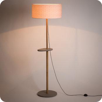 Lampadaire Design En Chene Naturel Et Medium Scandinave Avec Abat