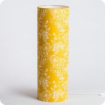 lampe tube poser en tissu motif vintage jaune simone. Black Bedroom Furniture Sets. Home Design Ideas