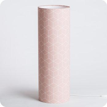 Lampe A Poser Design En Tissu Motif Geometrique Pastel Cubic Rose