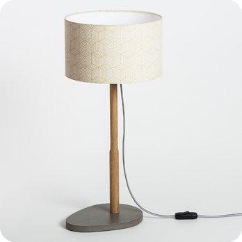 Lampe sur pied design en bois naturel et medium gris b ton for Lampe sur pied avec tablette
