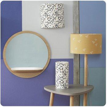 lampe table de chevet en bois naturel et medium gris b ton. Black Bedroom Furniture Sets. Home Design Ideas
