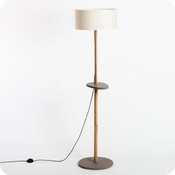 lampadaire design en bois naturel et medium gris b ton avec abat jour en tissu g om trique eos. Black Bedroom Furniture Sets. Home Design Ideas