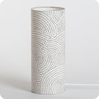 Lampe Tube A Poser En Tissu Motif Graphique Noir Sur Ecru Zen