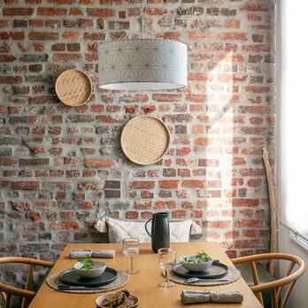 abat jour design pour lampe lampadaire ou suspension en tissu motif toile japonais maxi hoshi or. Black Bedroom Furniture Sets. Home Design Ideas
