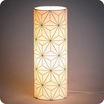 Lampe A Poser Design En Tissu Motif Etoile Japonais Maxi Hoshi Or