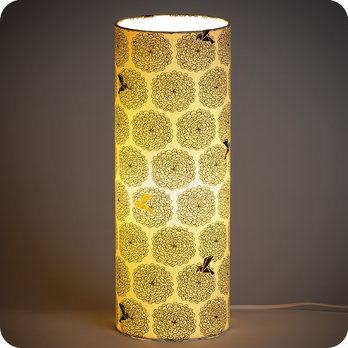 lampe tube poser en tissu motif vintage noir gold colibri. Black Bedroom Furniture Sets. Home Design Ideas
