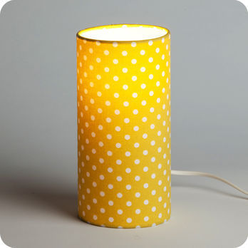 lampe tube poser en tissu motif pois vintage jaune grain de moutarde. Black Bedroom Furniture Sets. Home Design Ideas